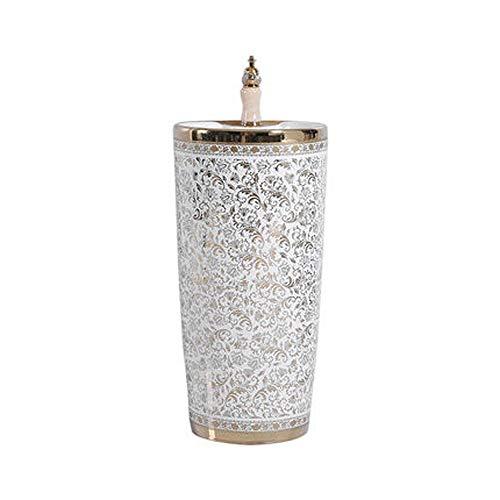 DZWLYX Freistehendes Waschbecken Mit Säule | Standwaschbecken | Waschbecken Standsäule | Waschsäule Säulenwaschbecken | Weiß Keramik 800 * 420mm