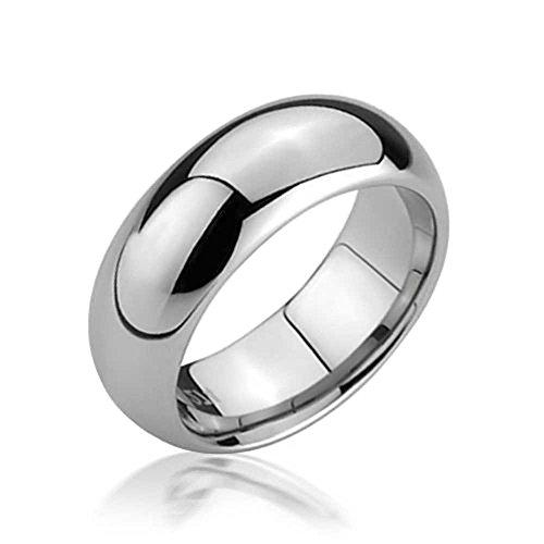 Bling Jewelry Domo Simple Banda Boda Parejas Anillos De Tungsteno para Hombres Y para Mujer En Tono Plateado Pulido Comfort Fit 6Mm