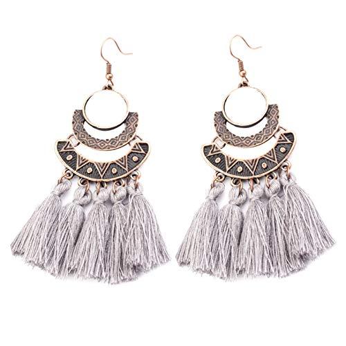 Ruby569y Pendientes colgantes para mujeres y niñas, estilo vintage, con borla larga y gancho, regalo de joyería para fiestas, color gris