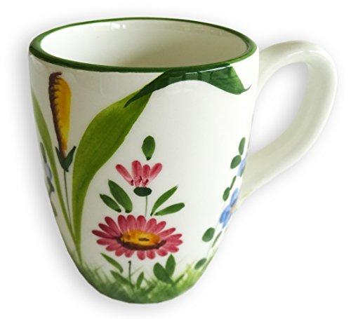 handgemachte große Kaffeetasse, Jumbo Tasse im Blumenwiese Design aus Italienischer Keramik, Tasse XXL ca. 400 ml