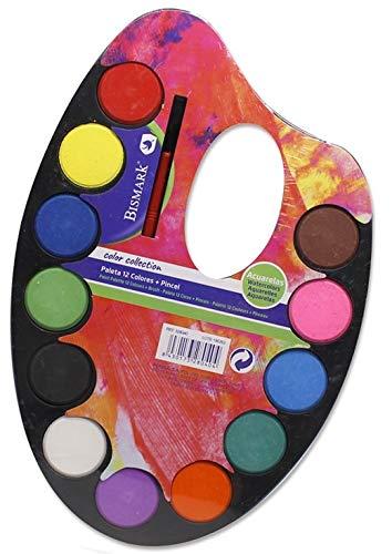 Bismark Paleta Acuarelas 12 Colores con Pincel