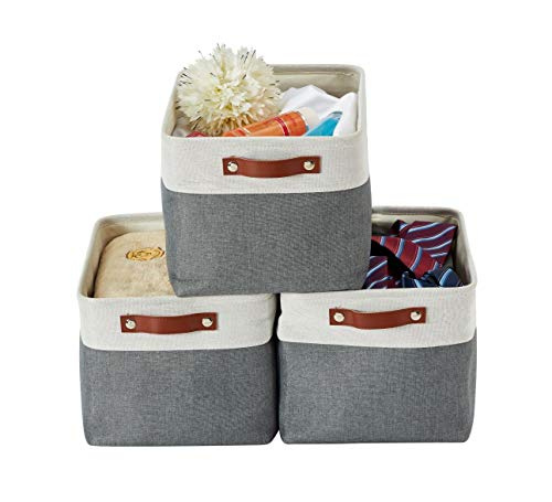 DECOMOMO Foldable Storage Bin | Collapsible Sturdy Fabric Storage Basket Cube W/Handles for Organizing Shelf Nursery Toy Closet (Slate Grey and White, Large - 3 Pack)