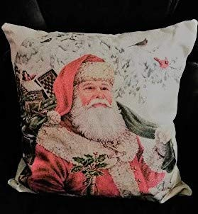 """Holiday Set of 2 Traditional Santa Clause 17"""" X 17"""" Throw Pillow Cases Christmas Home Decor"""