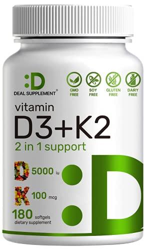 Vitamin D3 K2 Softgel, 180 Counts, 2-1 Complex, Vitamin D3 5000 IU & Vitamin K2 MK7 MK4, Promotes Heart, Bone & Teeth Health - Very Easy to Swallow