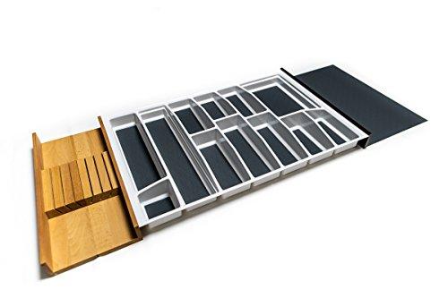 Besteckkasten für 120er Schublade | Besteckeinsatz mit Antirutschboden & Messerblock | Made in Germany | Alle gängigen Maße wählbar (weiß, 1105 mm x 462 mm (120er ArciTech))