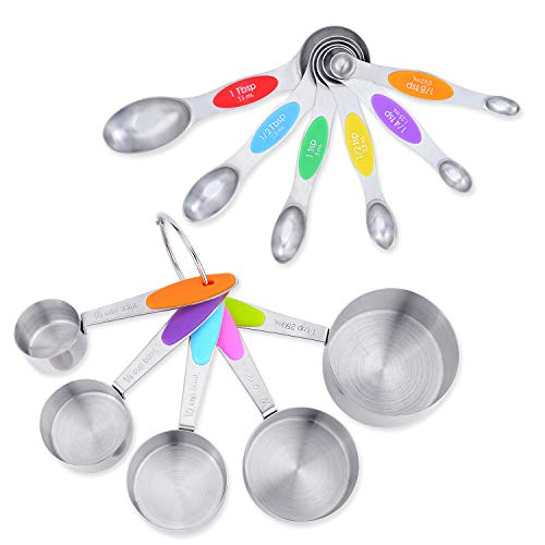 XINGDA Cook 11pcs/set Premium Stainless Steel Measuring Cups set Measuring Spoons set, 5 Measuring Cups And 6 Double Sided Stackable Magnetic Measuring Spoons