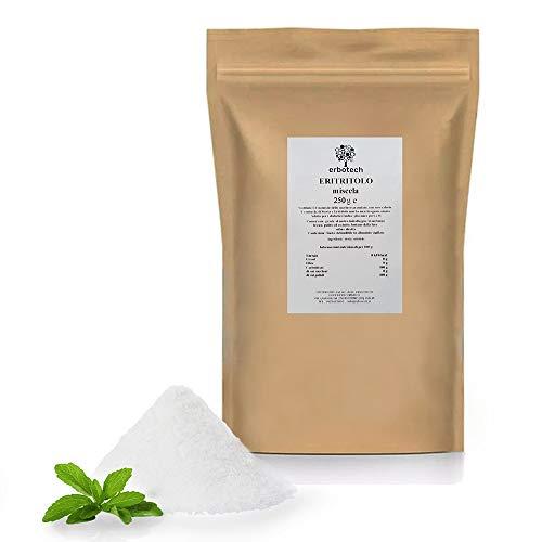 ERBOTECH Eritritolo in polvere 250 g, Sostituto Naturale dello zucchero con Zero Calorie, Adatto per Diabetici, Vegan, Senza Conservanti e Coloranti