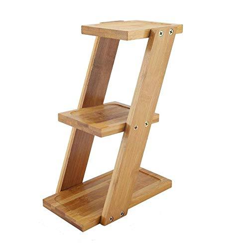 Soporte de bambú para plantas en maceta de 3 niveles, organizador de macetas, estante de almacenamiento, estante de bambú para plantas