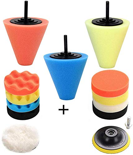 Car Buffers and Polishers Kit for Drill- 3 Pcs Drill Polishing Wheel Foam Ball Buffing Pads Sponge Ball for Automotive Car Wheels Hub Care, Metal, Plastic, Ceramic and Glass