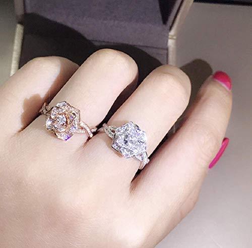 Zhiwen 3D Rose Ring CZ Simulated Diamond Ring Rose Gold Ring Rose Flower Ring for Women Eternity Wedding Ring 18K Rose Gold Engagement Diamond Rings Women Fashion Jewelry (US Code 8)