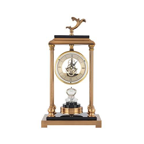 guoqunshop Reloj Vintage Reloj de Mesa de Metal atmosférico Movimiento Transparente Mute Table Reloj DE Mantel DE BATERÍA Puede Utilizar EL ADNELE DE LA HOGAR Reloj (Size : Medium)