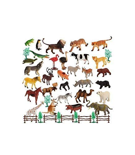 IMTION ( Pack of 24 ) Zoo Wild Animals Figures Set for Kids + Free Cartoon Striker Built in Non-Toxic Animals Set Small (Multi Color)