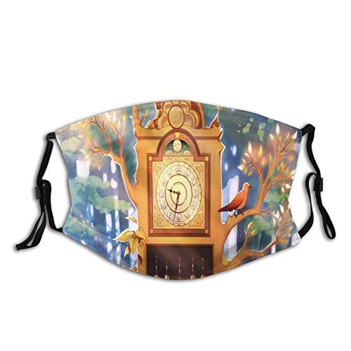 FULIYA 1 paquete de 1 funda para la cara de la decoración para adultos, lavable, reutilizable, con dos filtros, reloj, árbol, arte, bosque, luz del sol