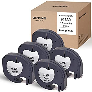 ZIPRINT Compatible Label Tape Replacement for DYMO LetraTag Refills 91330 10697 Paper LT Label Tape Work for DYMO LetraTag LT-100H LT-100T QX50 Label Maker Black on White 1/2 Inch x 13 Feet 5-Pack