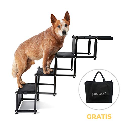 PiuPet® Universal Hundetreppe für große und kleine Hunde - bis 80 kg belastbar - für alle Fahrzeuge nutzbar - Hunderampe klappbar