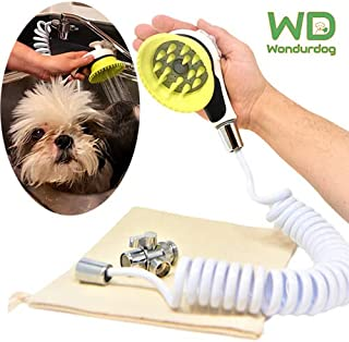 Wondurdog Quality Sink Faucet Pet Wash Kit | Innovative Shower Brush w/Splash Shield | 8 ft Recoil Hose & Metal Faucet Diverter | Kitchen, Bathroom, Utility or Laundry Sink | Faucet Adapters Included
