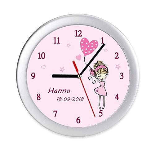 Kinderwanduhr Mädchen mit Ballon Wanduhr Kinderuhr Uhr mit Namen & Geburtsdatum