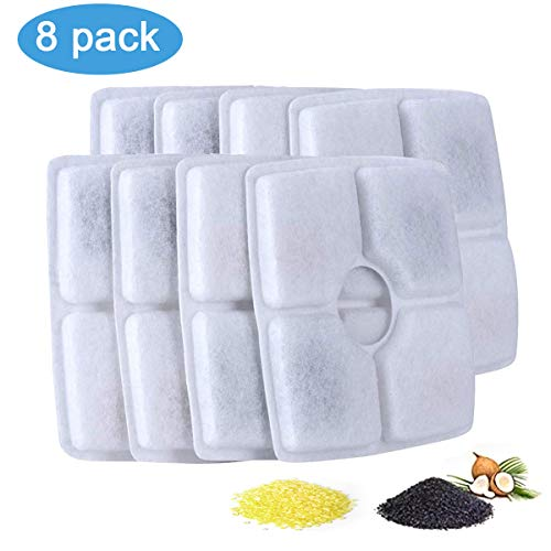 Pandola Pet Fountain Replacement Filters, Automatic Pet Fountain Dog Cat Water Fountain Dispenser for 84oz/2.5L Flower Fountains (Square Filters 8 Packs)