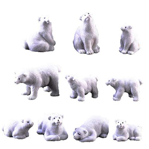 OMMO LEBEINDR Polar Bear Moss Microlandscape Harz-Garten Miniatur Eisbär Figuren 10Pcs