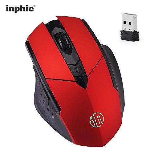 INPHIC Kabellose Maus, Wiederaufladbare 2.4G Wireless Mouse USB Optische Schnurlose Gaming-Maus, 6 Tasten, 2000dpi, RGB-Atemzug, Rechtshänder Funkmaus für Laptop PC Computer(Red)