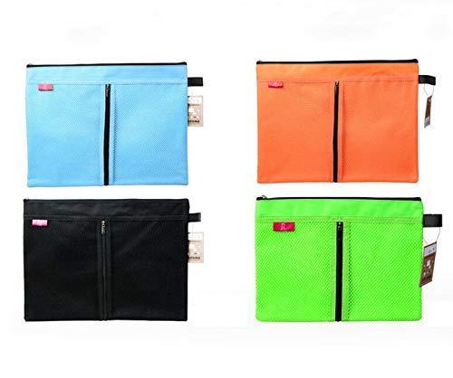2 uds A4 bolsillo de archivo con cremallera, soporte de bolsillo para documentos carpetas de archivo de lona de doble capa azul para la oficina de la escuela de tareas