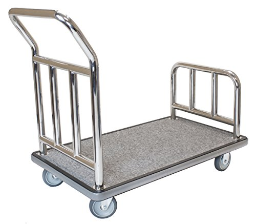 Wholesale Hotel Products Utility Bellman's Cart, Stainless Steel Finish, Heavy Duty Wheels