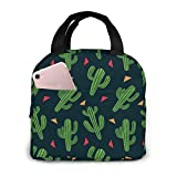 Lsjuee Cactus Fiesta Bolsa de almuerzo aislada portátil, bolsa de almuerzo, caja de almuerzo para trabajo, escuela, viaje, bolsa de hielo con tapa frontal