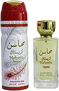 Mahasin Crystal Giftset By Lattafa for Woman EDP,100ML + Deo 200ml