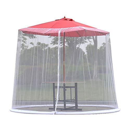 Cubierta para sombrilla, mosquitera para exteriores, jardín, sombrilla, mosquitera, mosquitera, para patio, mesa, sombrilla, cubierta de malla con cremallera, blanco