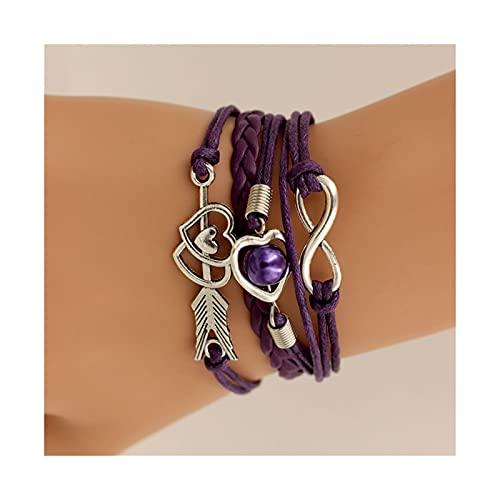 WAZG SYBLD Las Pulseras de Las Mujeres rodean el Amor Infinito (Metal Color : Purple)