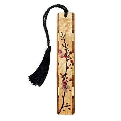 Cherry Blossom - Branch in Color Wooden Hand Made Bookmark on Maple with Black Tassel - Search B072B8LYGG for Personalized Version