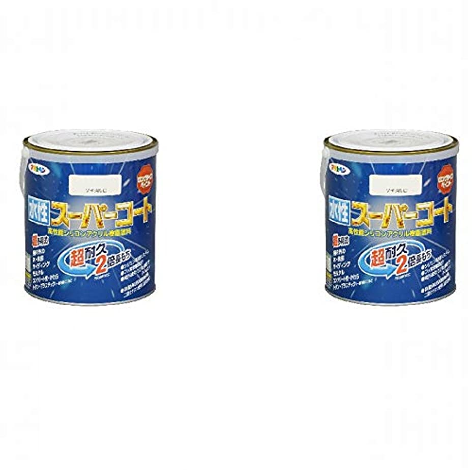 宇宙スクリューローブアサヒペン 水性スーパーコート 1.6L ツヤ消し白 2缶セット
