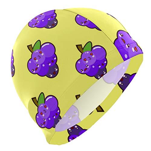 ALINLO Badekappen, süßes witziges Fruchttrauben-lila, Emoji-Schwimmkappe, wasserfest, für Erwachsene, Männer, Frauen, Jugendliche, Mädchen, Jungen