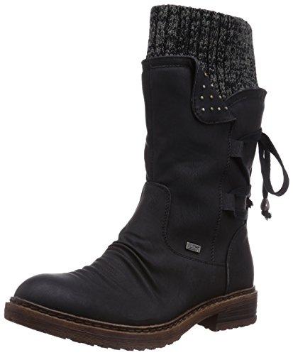 Rieker 94773 Damen Winterstiefel,Winter-Boots,Fellboots,Fellstiefel,gefüttert,warm,Reißverschluss,schwarz,38 EU