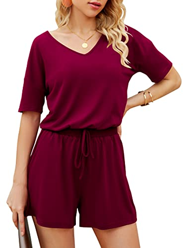 ANRABESS Women Rompers for Summer V Neck Short Sleeve Short Rompers with Pockets A216jiuhong-XL 05