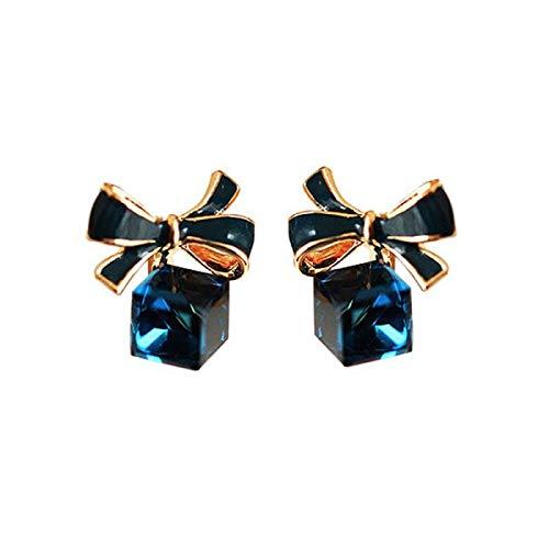 Pendientes de mujer pequeños,aretes pequeños mujer brillantes con Cristal Zirconia Cubica en forma de cubo y lazo color azul brillo elegante,Incluye caja para regalo