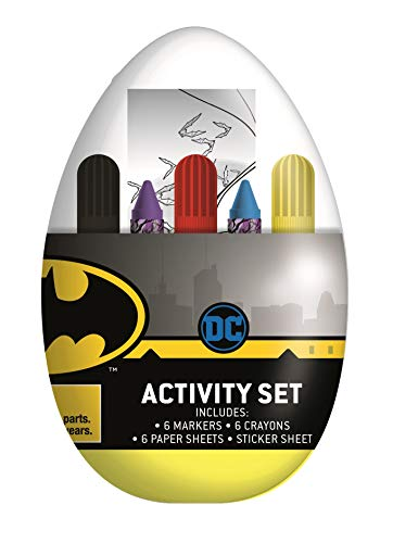 Innovative Designs Kids Activity Egg Easter Craft Kit with Coloring Pages, Stickers, Markers, and Crayons (Batman)