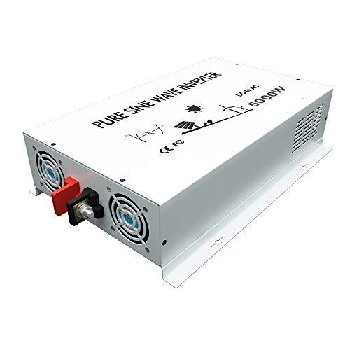 WZRELB 5000W Pure Sine Wave Power Inverter 12V DC to 120V AC Converter Off Grid Generator Home Power Supply