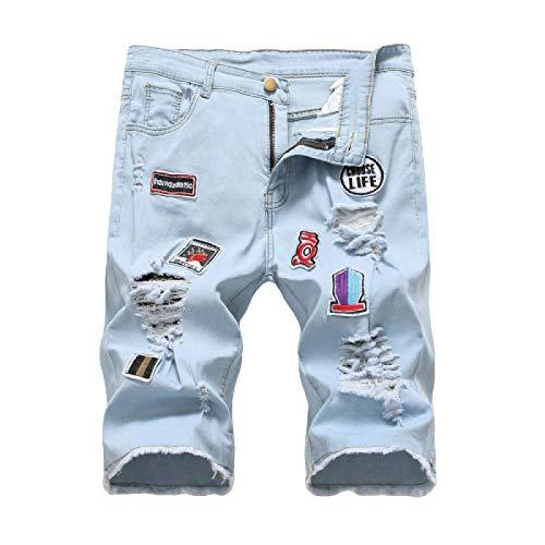 Beastle Pantalones Cortos de Mezclilla para Hombre Pantalones Cortos de Mezclilla Rasgados con Personalidad Pantalones Cortos de Mezclilla elásticos Casuales 3XL