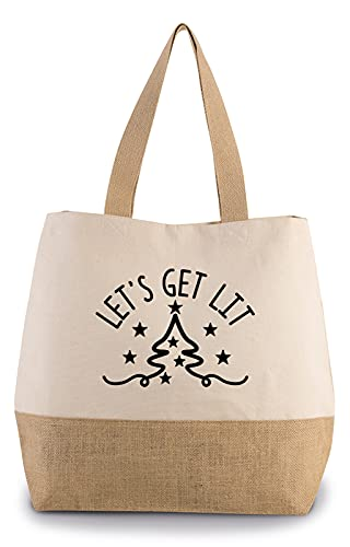 Hippowarehouse Lets Get Lit Christmas Premium reusable eco friendly 100% cotton tote shopper bag for life 43cm x 33cm x 17cm