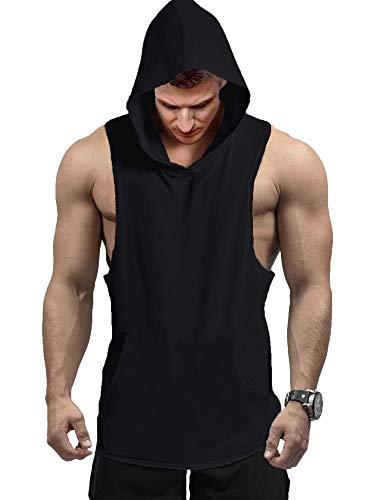 COOFANDY Camiseta deportiva sin mangas para hombre, con capucha, para gimnasio, entrenamiento, culturismo, etc. Negro XXL