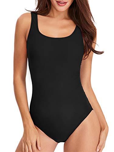 PANAX Pofessioneller Damen Schwimmanzug - Sportlicher Badeanzug mit herausnehmbaren und vorgeformten Softcups Alle Schwarz, Größe L