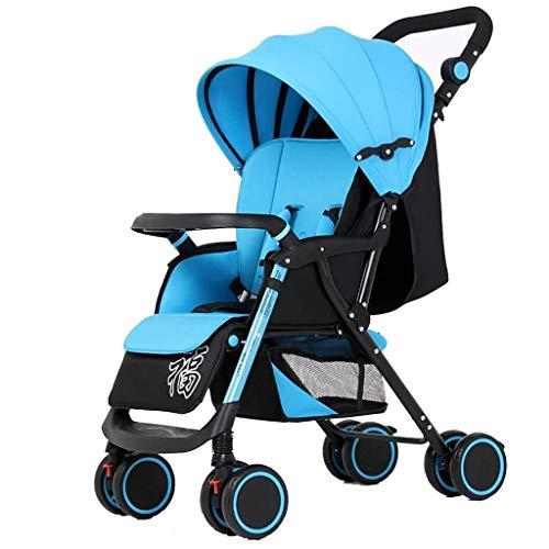 MAMINGBO Cochecito de bebé Empujador portátil de peso ligero plegable de cuatro ruedas Carro de bebé for recién nacidos y niños pequeños (Color : Azul)