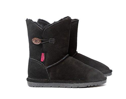 Reissner Lammfelle Lammfell Winterstiefel Lara Halbstiefel Schlupfstiefel Boots (Halbschaft) schwarz, Größe 39