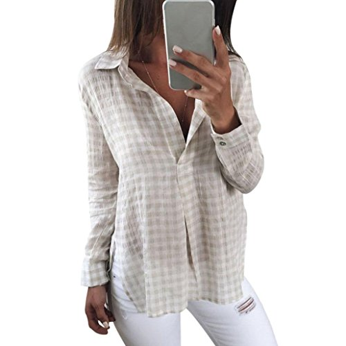 Hirolan_Frau Lange Hülse V-Ausschnitt Plaid Gedruckt Beiläufig Bluse Tops (Beige, S)