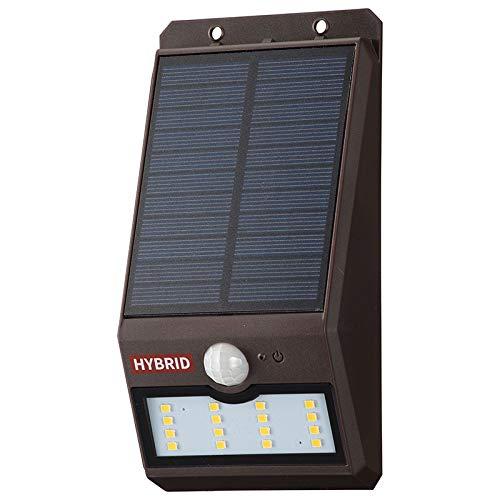 オーム電機 monban LEDセンサーウォールライト ソーラー&乾電池 400lm 常夜灯付 ブラウン LS-SHB140FN4-T 06-4233 OHM