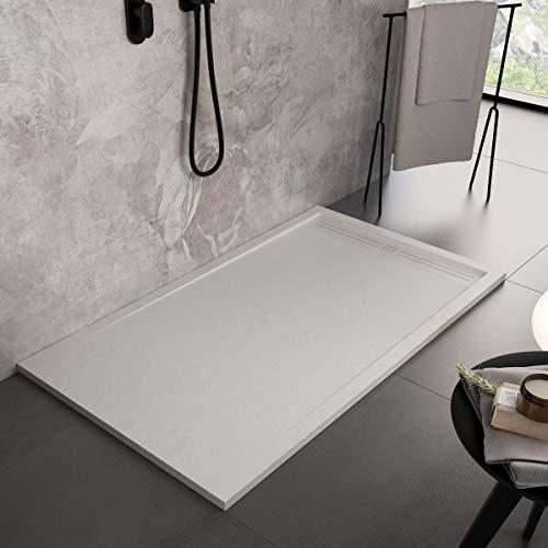 Luminosa ArredoBagno Plato de ducha Marmoresina de 70 x 130 cm, efecto piedra antideslizante con gelcoat, modelo Berlín, color blanco, rejilla y desagüe incluidos