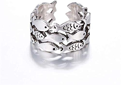 ADICOM to My Daughter Swimming Against The Current Ring Adjustable Finger for Women,Adjustable 3 Layer Fish Pattern Vintage Jewelry Ring 2pcs