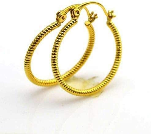 New 24K Yellow Gold Filled Rib Textured Band Design 7/8'' Round Hoop Earrings
