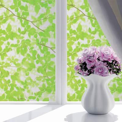 Piero Zelfklevende matglazen film kantoorraam matte stickers glasstickers transparant ondoorzichtig, groene bladeren